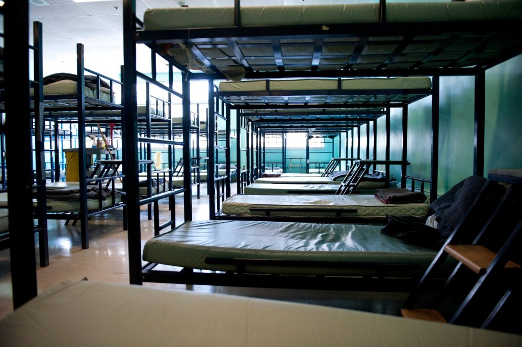 homeless shelter dormitory beds